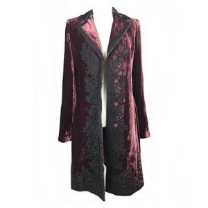 T Tahari Silk Velvet Embroidered Coat (Small)